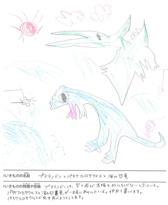 プテラノドンとパキケファロサウルスと海の恐竜