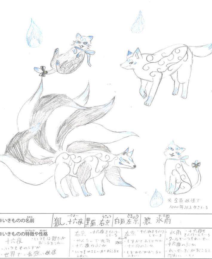 狐・十六夜 黒猫・右京 白猫・左京 狼・氷雨